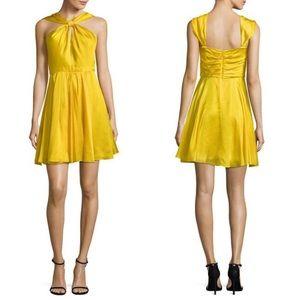 Halston Heritage Silk Yellow Halter Pleated Dress